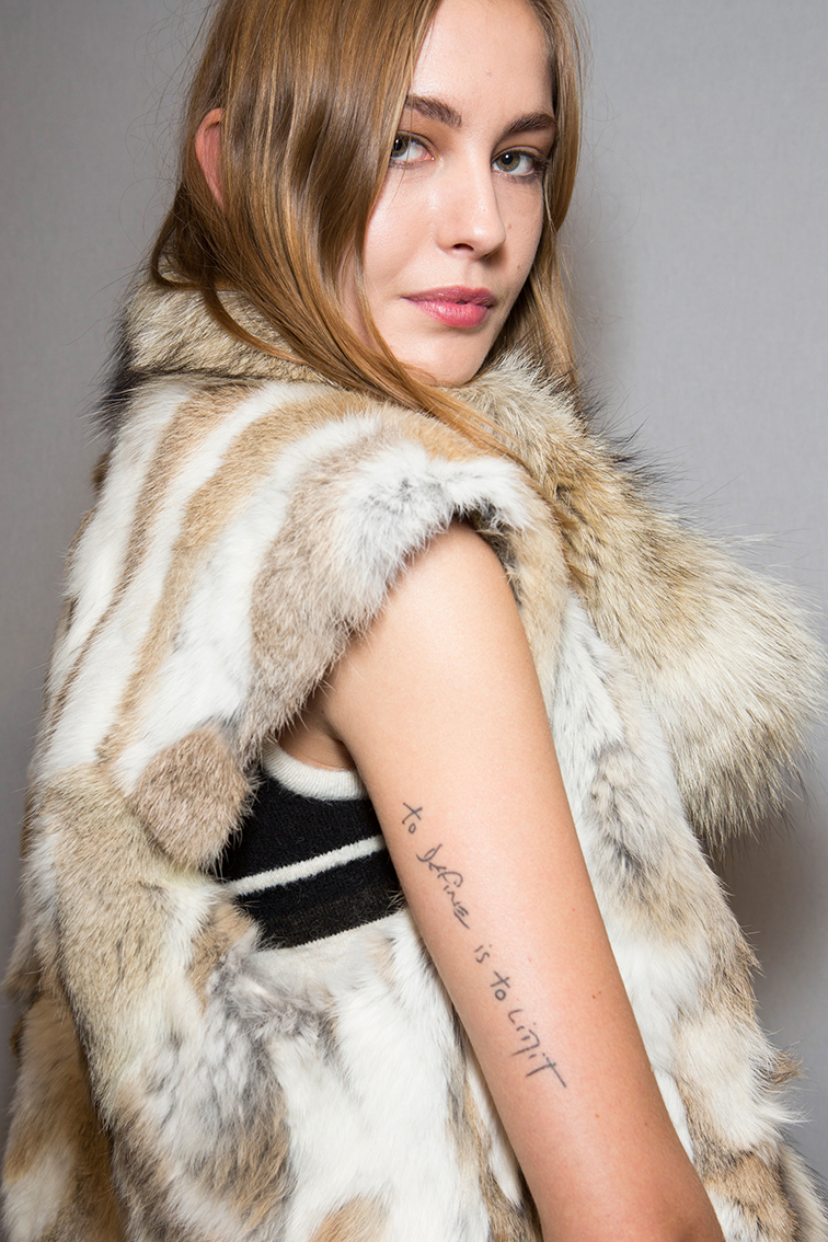 Nadja Bender backstage at Isabel Marant FW14
