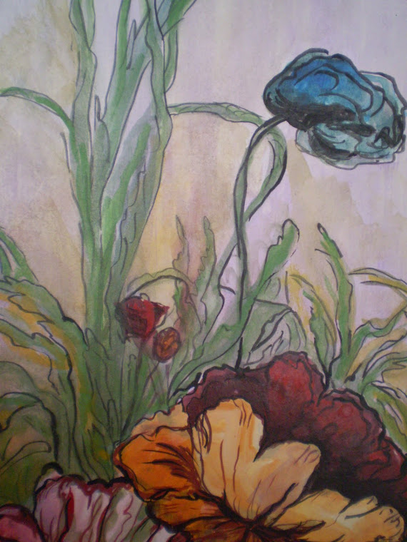 Wild poppies, watercolor, detail, signed Joli, A4