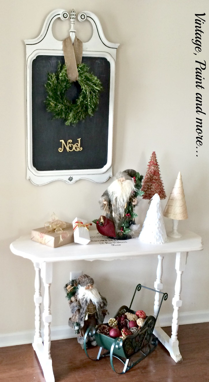 Vintage, Paint and more... vintage Christmas decor of cone trees, boxwood wreath and Old World Santa