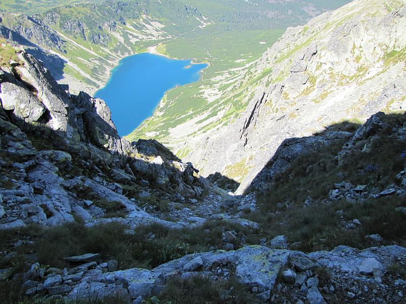 Skrajna Sieczkowa Przełączka (2200 m n.p.m.) - widok na Dolinę Czarną Gąsienicową.