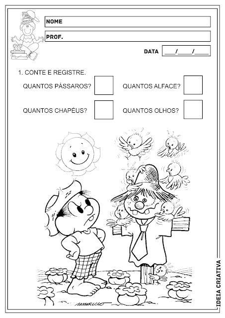 Contando e Registrando Turma da Mônica Atividade Educação Infantil