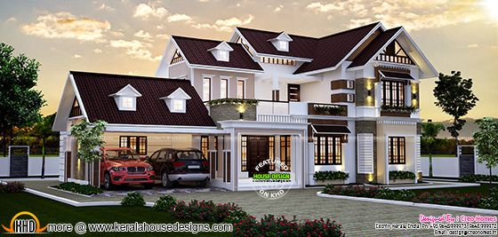 Design style : Sloped roof. Construction cost : Approximate 68 lakhs*  ($104000) (May change time to time place to place)