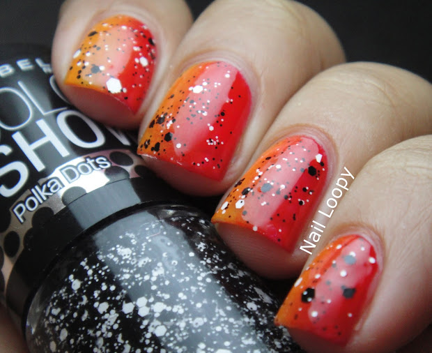 nail loopy red & orange vertical