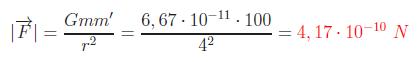 Módulo de las fuerzas gravitatoria entre partículas