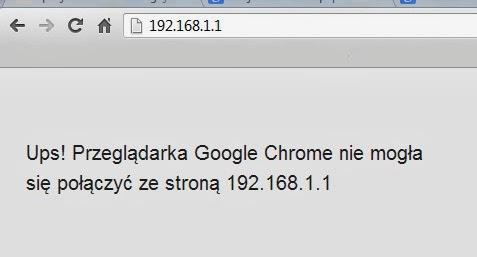 Informacja o braku możliwości połączenia się ze stroną w Google Chrome