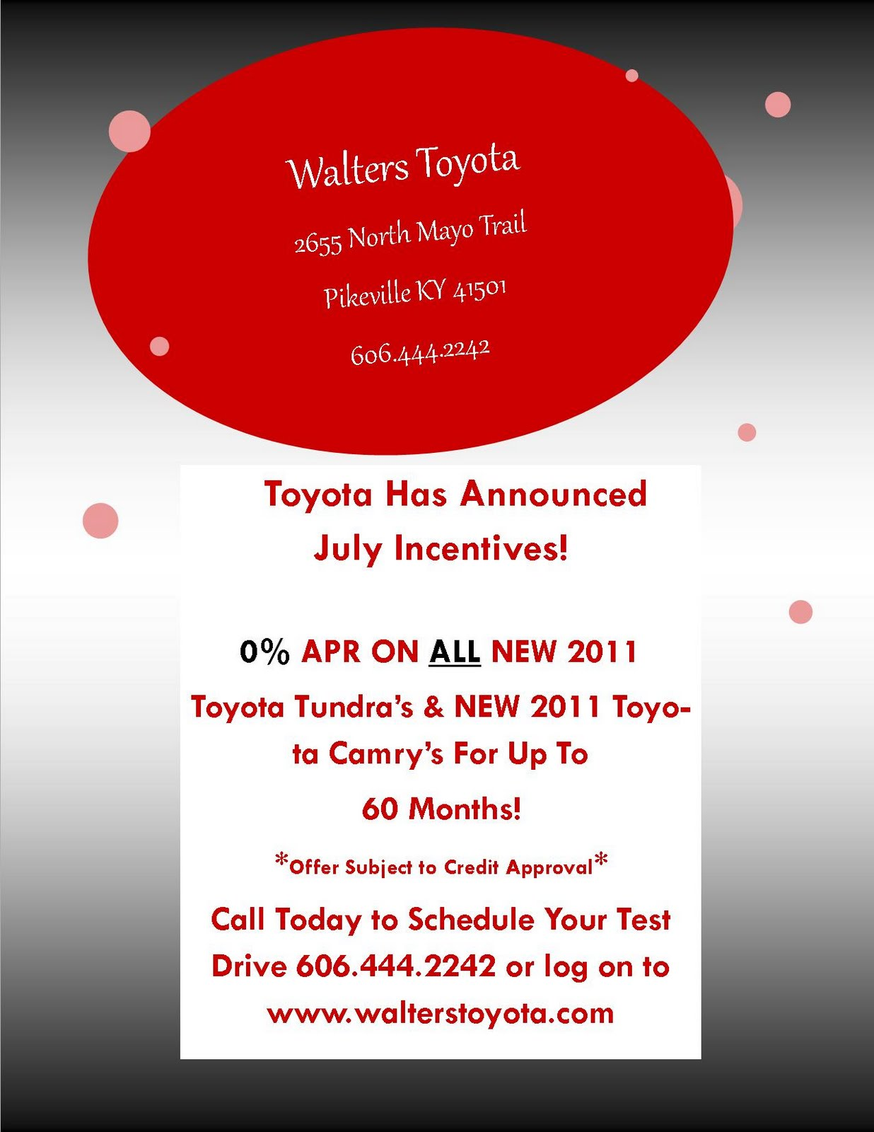 Posted By Walters Toyota At 2:02 PM No Comments: