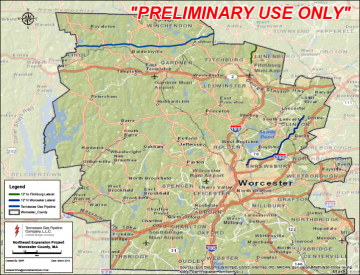 Preliminary maps for the pipeline in Worcester County (Credit: golocalworcester.com) Click to Enlarge.