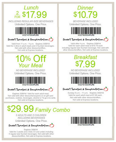 Sep 20,  · 2 Sweet Tomatoes Coupons For Lunch & Dinner Print coupons and receive: – weekday lunch (11am-4pm) for only $ – weekday dinner (after 4pm) for only $ 15% Souplantation & Sweet Tomatoes Coupon – With Visa Receive a 15% discount on your entire check at your local Souplantation & Sweet Tomatoes restaurant/5(21).