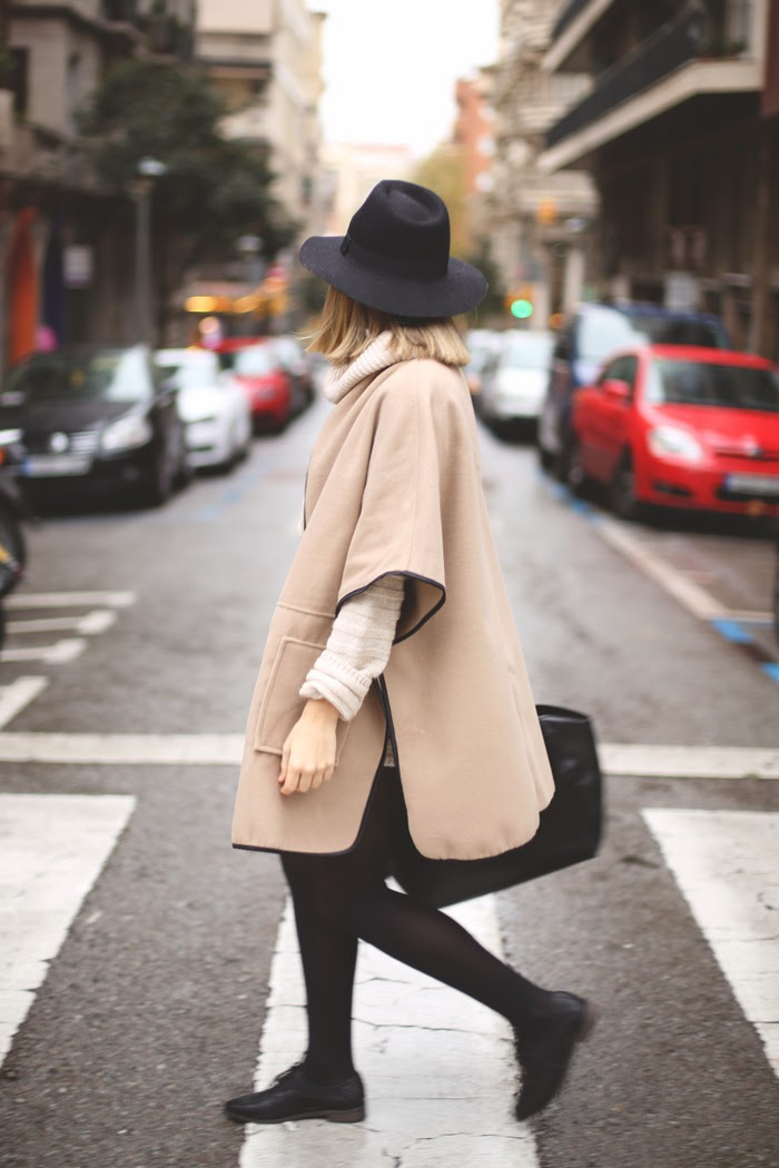 camel cape dress