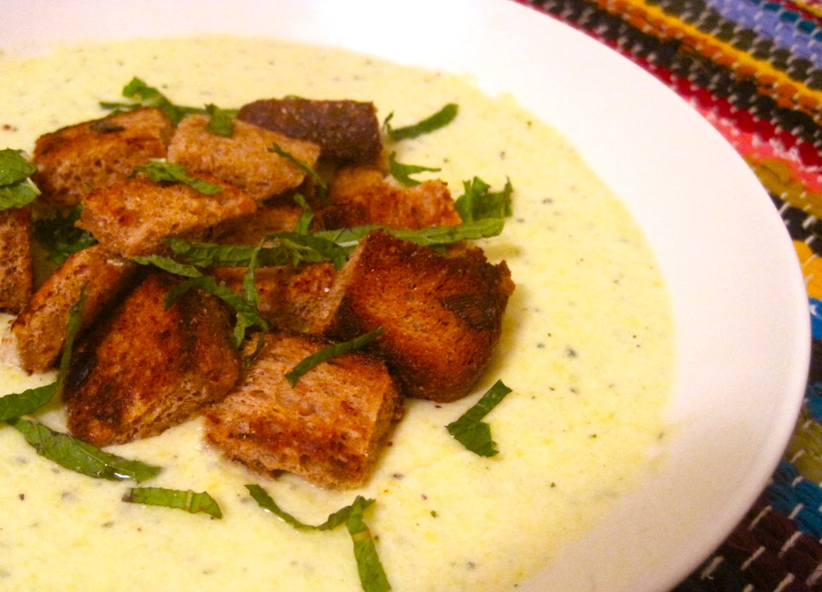 Chilled Summer Squash Soup With Yogurt, Mint, And Sourdough Croutons ...