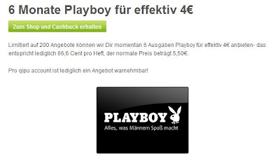 Playboy Halbjahres-Abo für effektiv 4 Euro über qipu