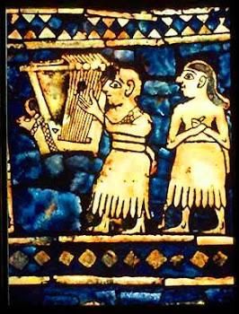 Músico tocando el ARPA en la ciudad de Ur (Mesopotamia)