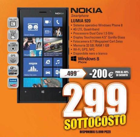 In arrivo un ottima promozione sullo smartphone windows phone 8 Lumia 920 venduto al miglior prezzo di sempre ovvero 299 euro