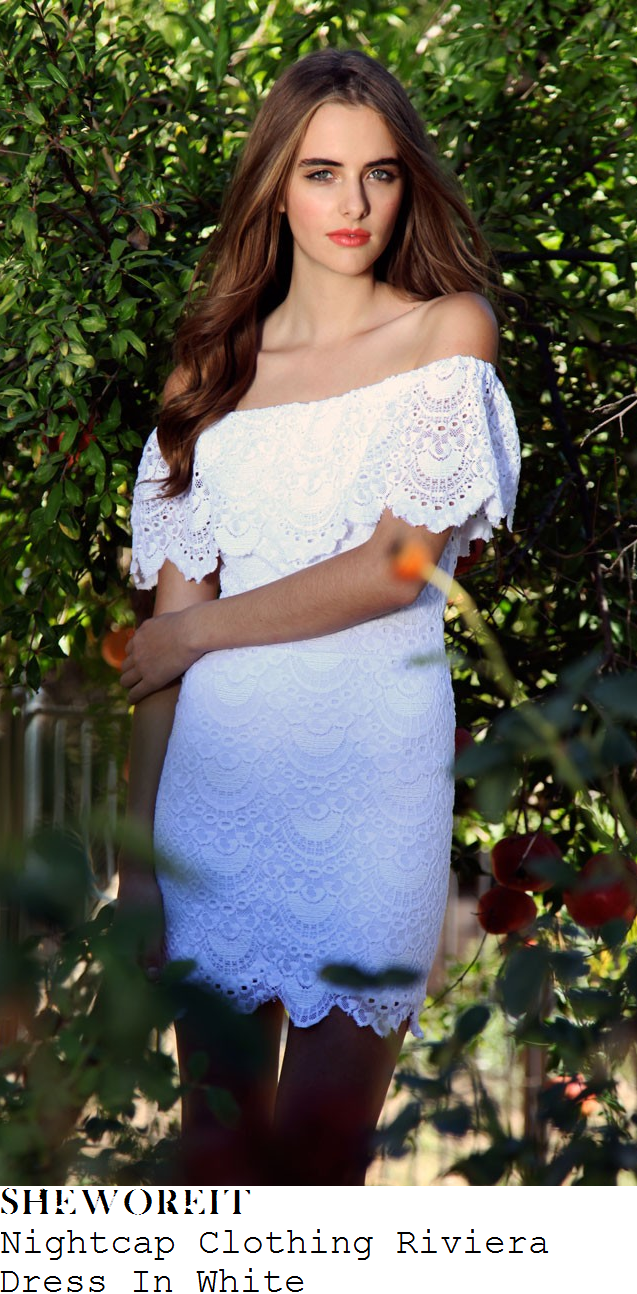 jessica-wright-white-lace-off-the-shoulder-dress