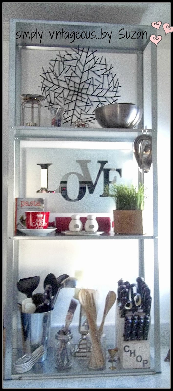 Ikea metal shelving in kitchen