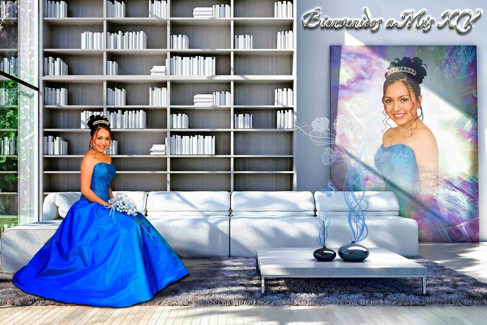 Sala con librero y un marco para una modelo