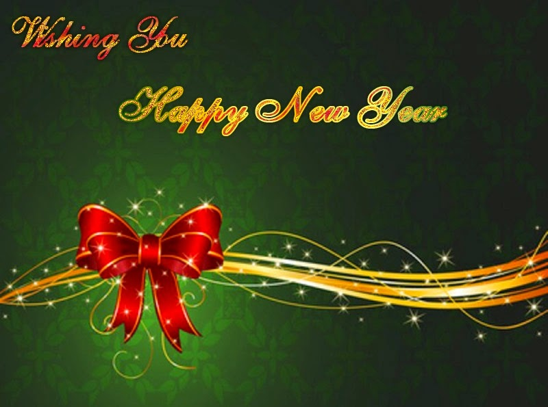 Happy New Year Best Wishes 2015 Christmas Ribbons eCard