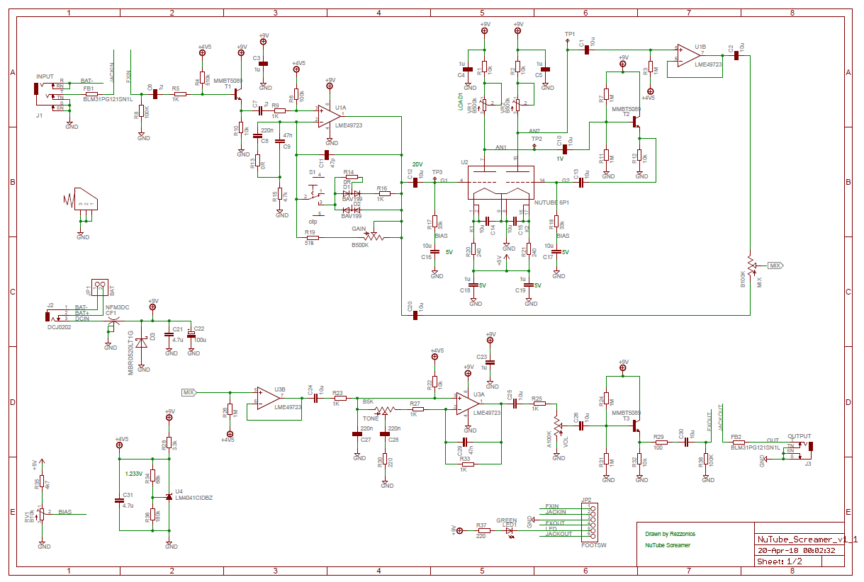 Rezzonics: NuTube Overdrive - Schematics, BoM, PCB layout, 3D on