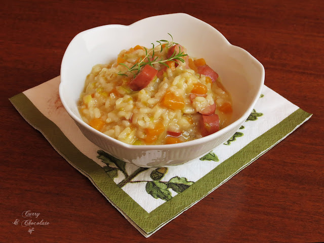 Risotto de calabaza, salchichas y queso – Sausage pumpkin  risotto