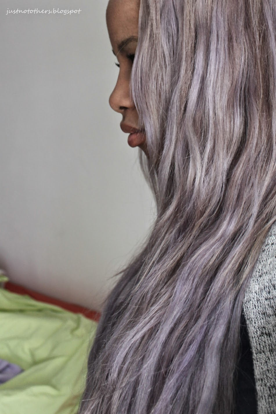 dark skin grey hair