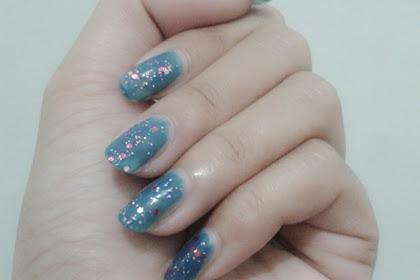 Nail of The Day Turquoise Pink Blink + Pamer Kuku