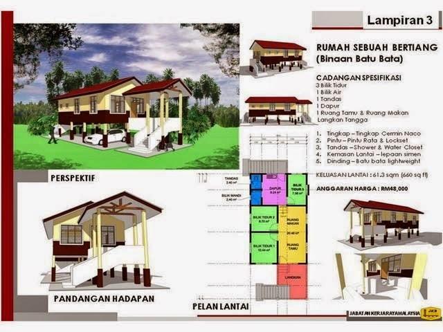 Gambar 2 Model Rumah Bantuan Mangsa Banjir
