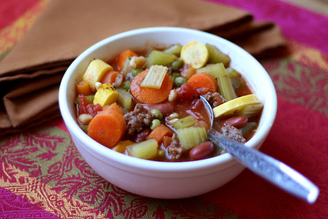 Italian Vegetable Soup with Summer Squash recipe by Barefeet In The Kitchen