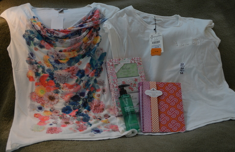 H&M floral top, Zara t-shirt, Boscia, cleansing oil, notebook