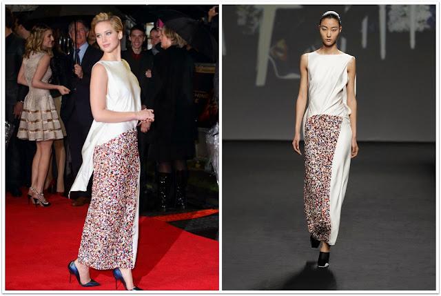 Jennifer Lawrence con vestido de Dior blanco con pedreria