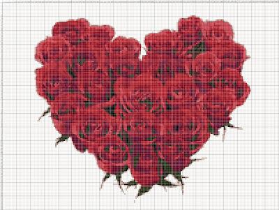 Gambar Pola Kristik Rangkaian Bunga Mawar Merah Berbentuk Hati
