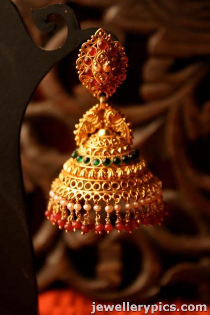 Gold Designer Jhumka Buttalu With Pearls Rubies Emaralds