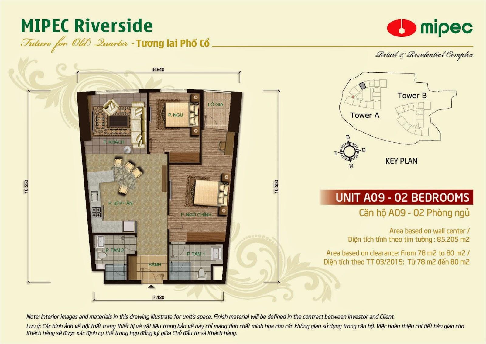 Căn A09 - 85m Mipec Riverside