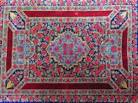 中古 ペルシャ絨毯 クム産 シルク 玄関 薔薇