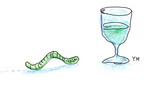 A green worm goes toward a glass by Yukié Matsushita