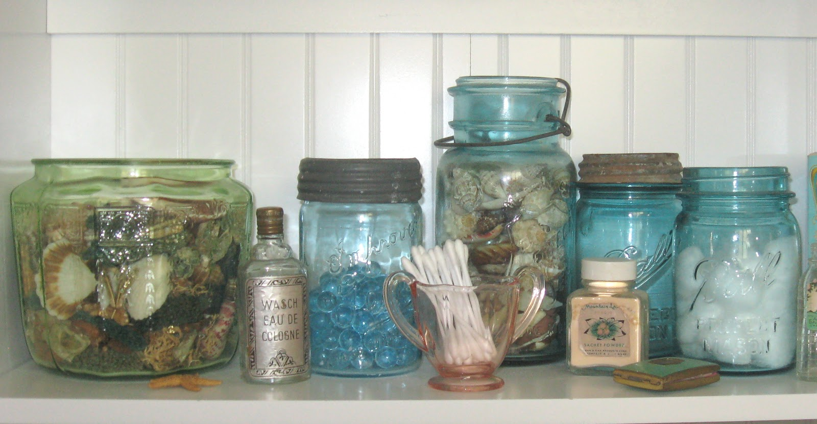 Put Mason Jars And Depression Glass To New Uses On Your Bathroom Shelf