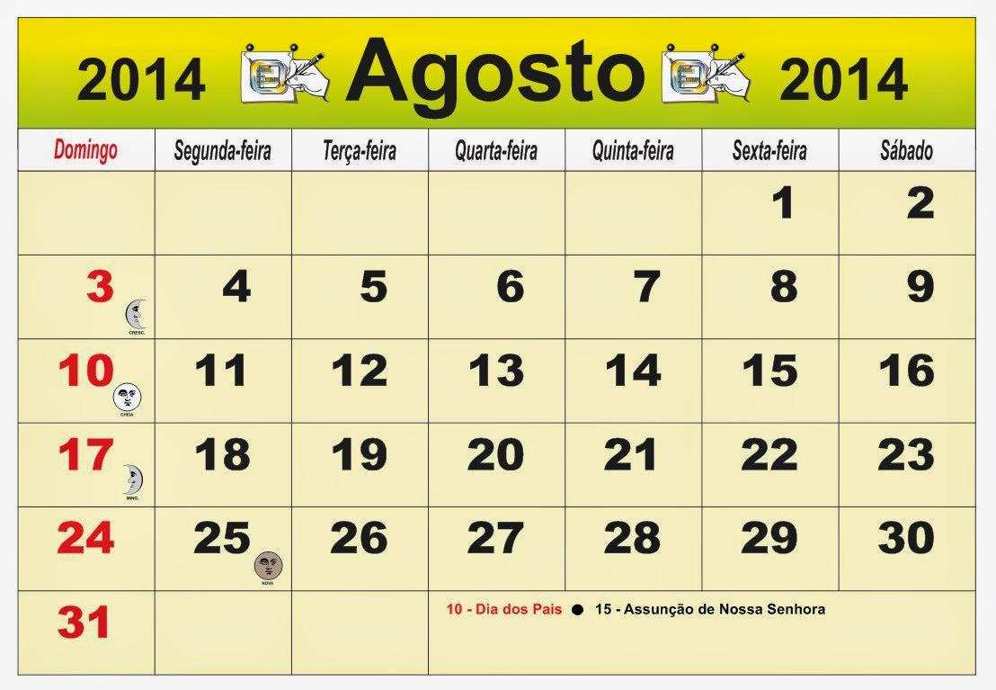 Calendário Brasil do mês de Agosto 2014, com as fases da lua e