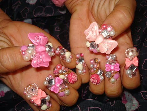 Nail Designs with 3D Bows