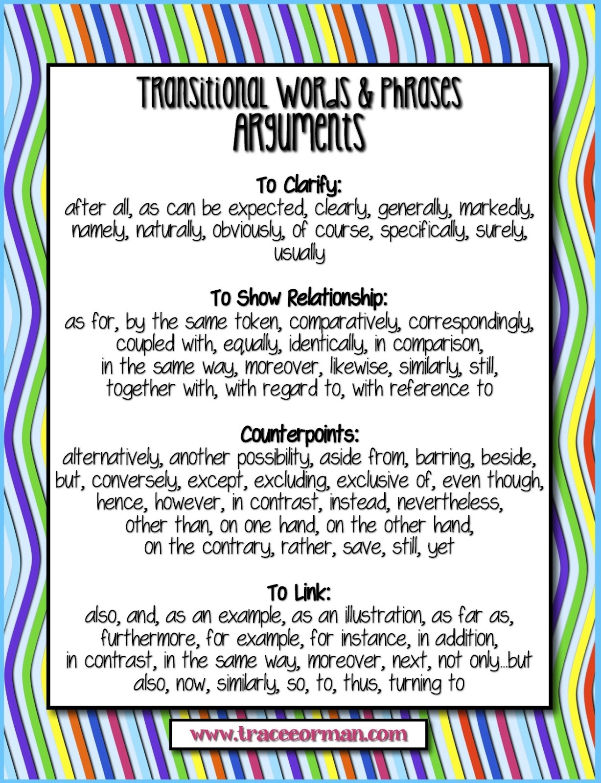 transitions in an essay list Here is a list of some common transitional devices that can be used to cue readers in a given way to add: and, again, and then, besides, equally important.