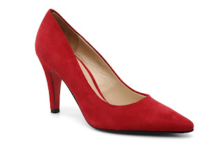 Pointed red court shoes