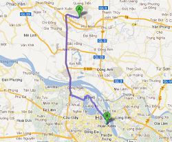 Route from Hanoi Airport to city center