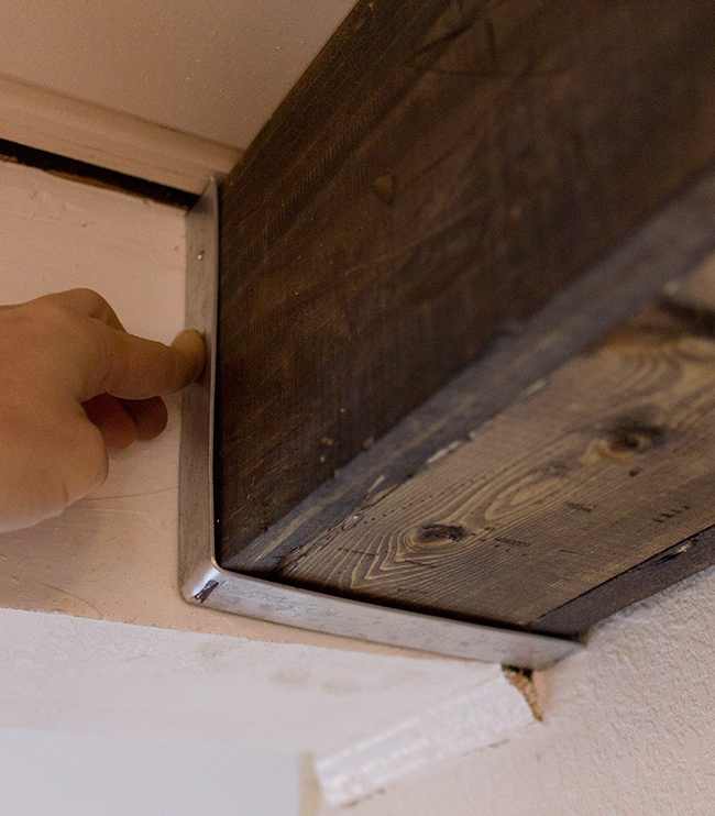 Kitchen chronicles diy wood beams jenna sue design blog for How to build a box beam