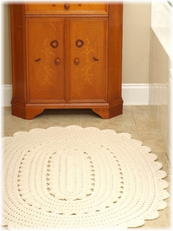 Handy Crafter Freshly Finished Oval Crocheted Doily Rug