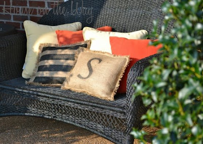 Burlap Stencil Pillows