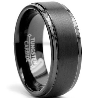 Black Matte Finish Men's Tungsten Wedding Band