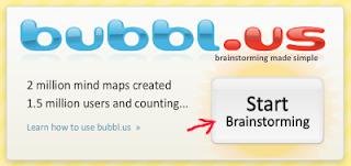 Tombol memulai membuat peta konsep (mind map) di bubbl.us tanpa sign in