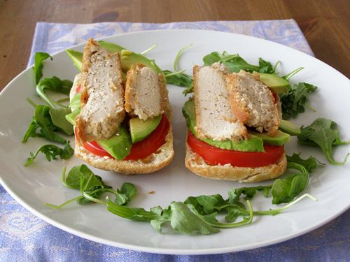 Ciabatta with Hickory Smoked Almond Cheese, Avocado and Tomato