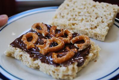 Chocolate Caramel Pretzel Stuffed Crispy Treats