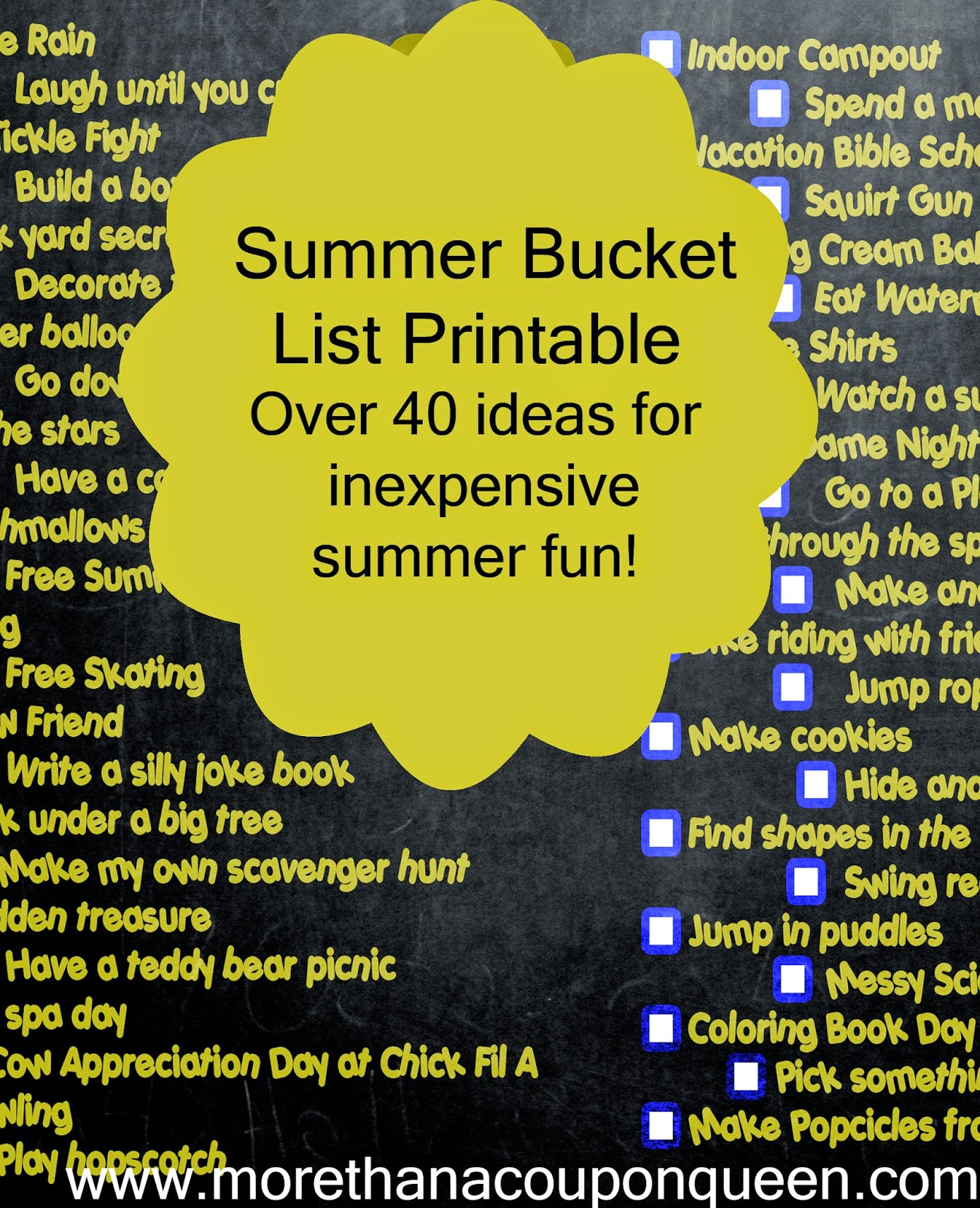 Summer is just around the corner and I am so excited. We have put together a bucket list of things we want to do this summer. However, money is tight so we don't want our list to be filled with things that cost a lot. I have put this together as a printable so that you can print it out if you need a low cost bucket list.