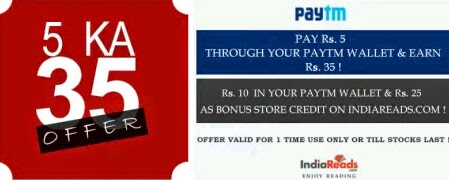 Paytm India Reads 5 Ka 35 Offer - Pay Rs 5 & Get Rs 10 Paytm Wallet Cash
