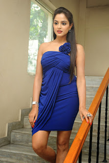 Asmita Sood in a very Small Sleeveless Shoulder less blue Gown lovely Smile